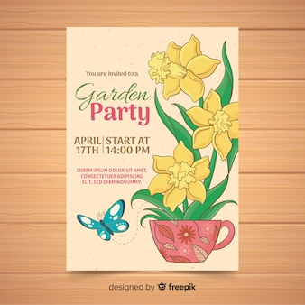 Flower inside cup garden party poster