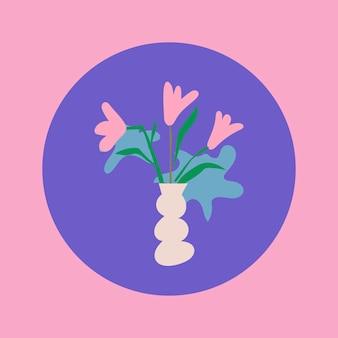 Цветочный значок instagram выделить, эстетическая иллюстрация каракули в векторе ретро-дизайна