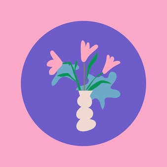Icona di evidenziazione del fiore di instagram, illustrazione di doodle estetico nel vettore di design retrò