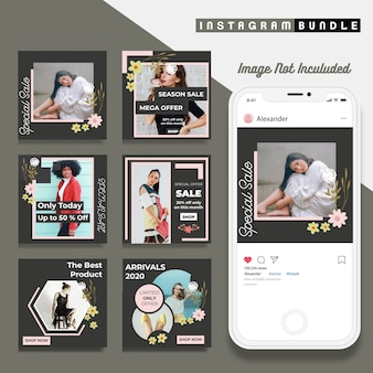 Flower instagram post fashion template