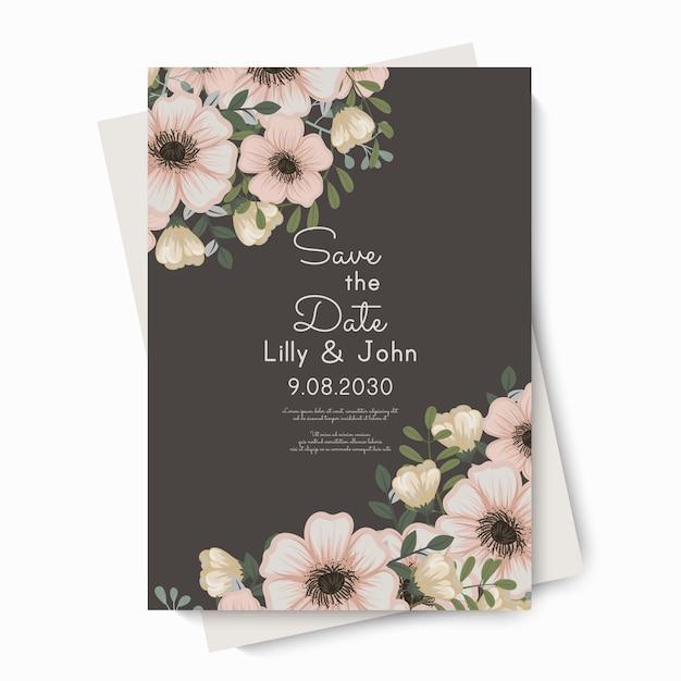 Цветочный пригласительный билет на свадьбу
