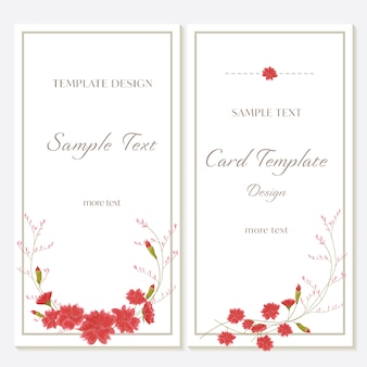 Flower invitation card template design vector with red carnation.