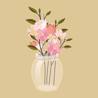 Flower in the jar. the transparent jar have a beautiful flower