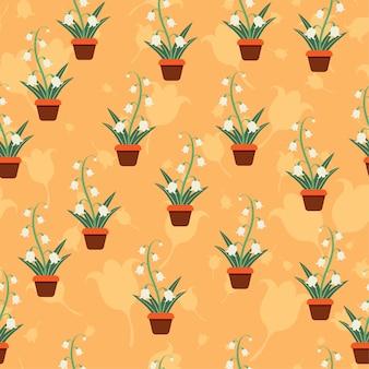 꽃 계층 패턴 원활한 벡터 꽃 모티브