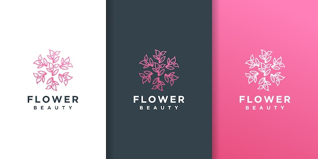 Цветочный лист линии арт стиль дизайн логотипа