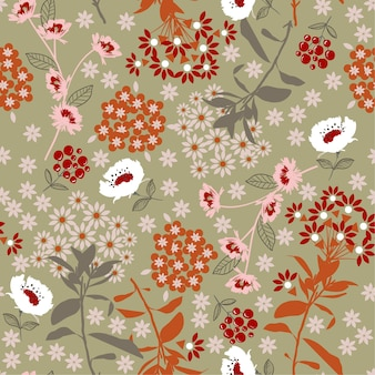 Flower and leaf seamless pattern vector.