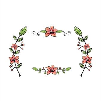 Flower and leaf stem illustrator with set
