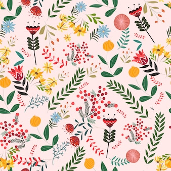 Flower and leave cartoon seamless pattern