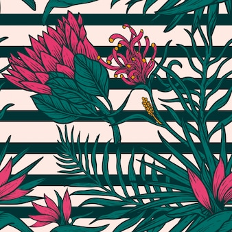 Flower leaves  hand draw vintage design