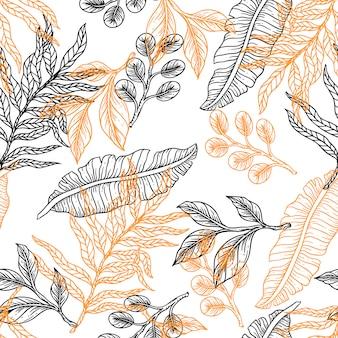 Flower leaves line hand draw vintage design