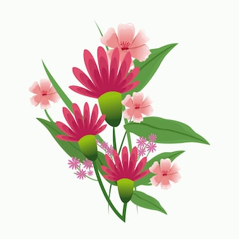 Flower and leaves plant romantic