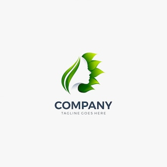 Flower leaves woman's face logo concept for spa design template