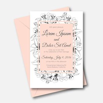 ピンクの正方形の結婚式の招待状で描かれた花ユリの手