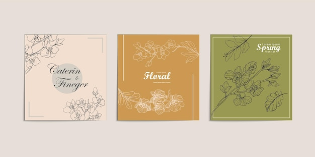 Flower line art concept for advertising and marketing feed sosmed