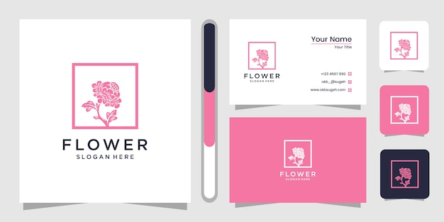 꽃 라인 아트 로고 디자인 서식 파일