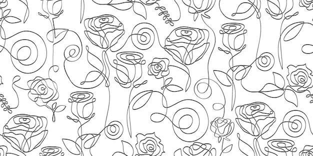 連続手描きの花の線画パターン