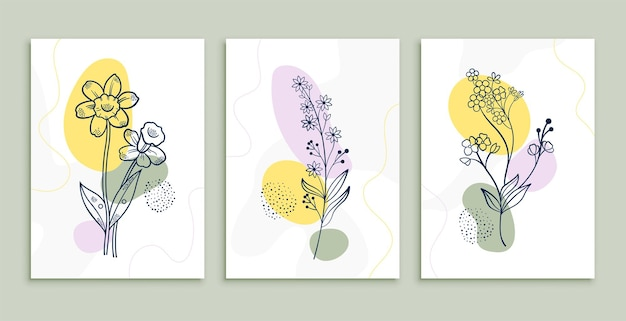 Flower line drawing posters set minimal botanic art