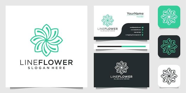 フラワーラインのインスピレーションのロゴと名刺のデザイン Premiumベクター