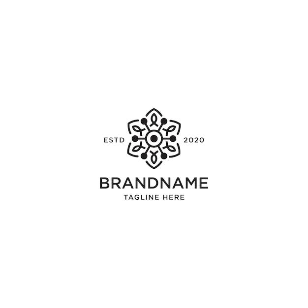 Flower line logo design template