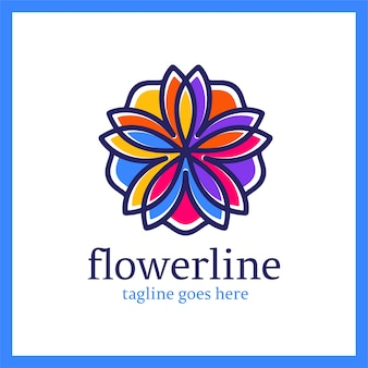 Flower line logotype. royal lotus ornament