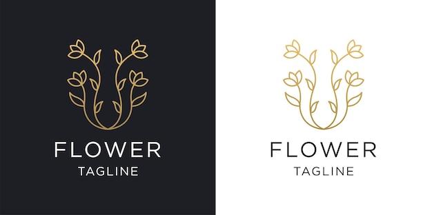 Flower line style simple elegant logo design template