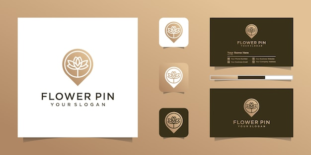 Flower location logo line art style business technology map nature and business card