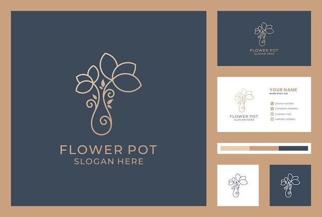 花のロゴの抽象的なブランドの線形スタイル。