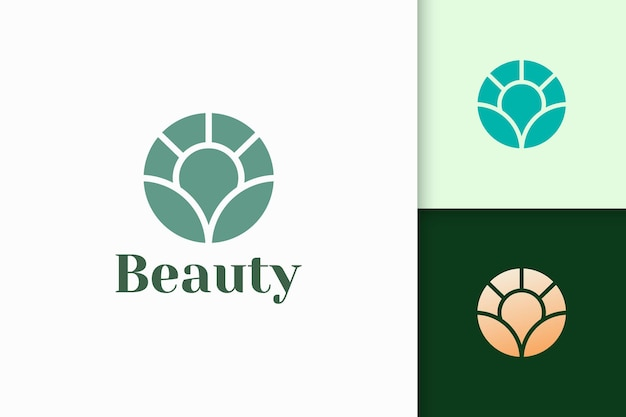 Flower logo in abstract shape for health and beauty