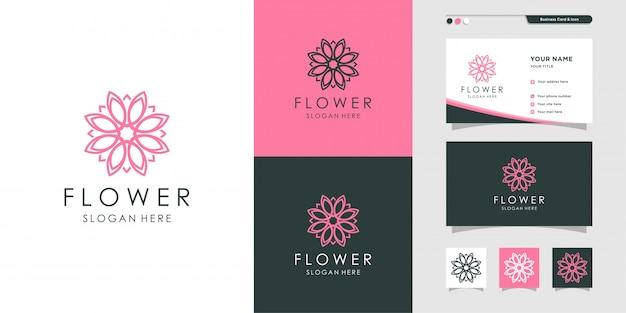 Цветочный логотип и дизайн визитных карточек, дизайн визитных карточек, штриховые рисунки, растения, спа, красота, здоровье, шаблон оформления,