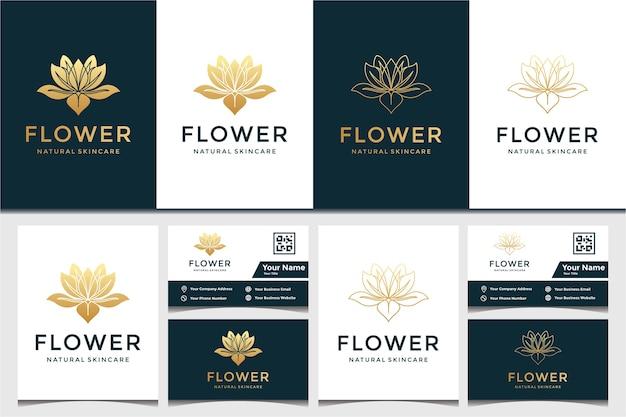 花のロゴと名刺のデザインテンプレート。美容、ファッション、サロン、スパ
