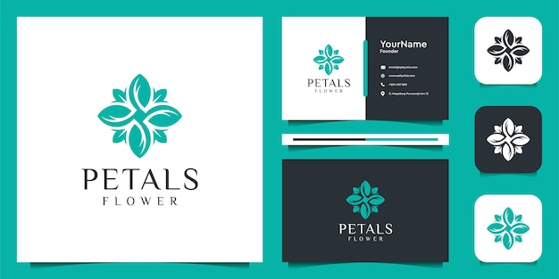 花のロゴと名刺のデザイン