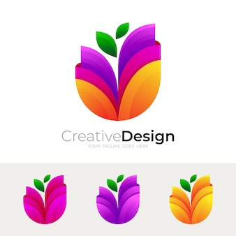花のロゴとカラフルなデザインイラスト、カラフルなスタイル
