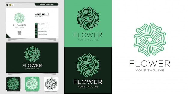 Flower logo and business card design template. beauty, fashion, salon, business card, spa, icon