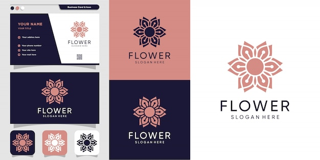 Flower logo and business card design template. beauty, fashion, salon, spa, icon,