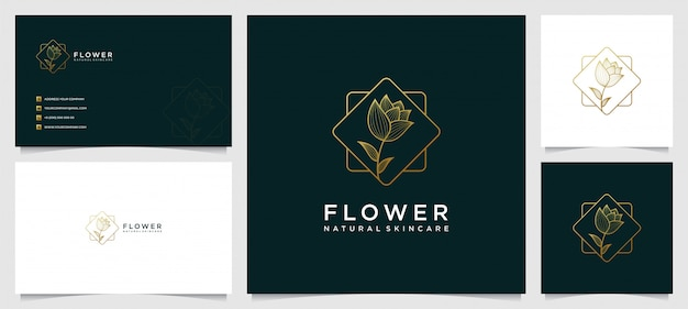 Flower logo and business card design template, beauty, health, spa, yoga with line art style