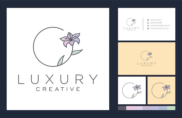 Flower logo and business card design