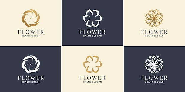 Цветочный логотип с современной минималистской абстрактной концепцией premium векторы