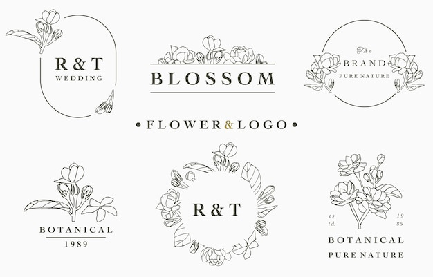 Flower logo collection with leaves,geometric,circle frame.