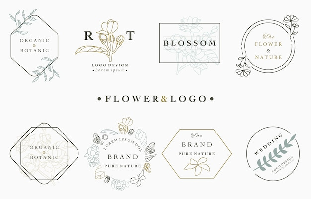 Flower logo collection with leaves,geometric,circle,square frame.