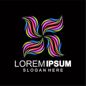 Цветочный логотип цветной полный