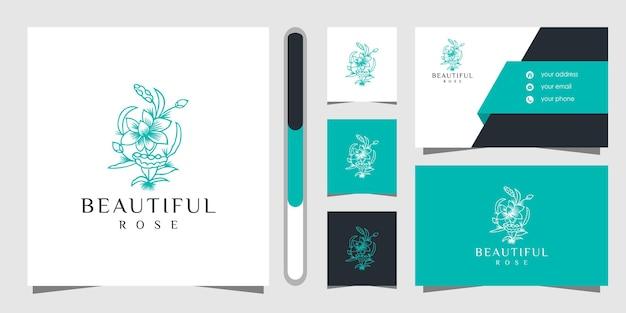 花のロゴのデザインと名刺。