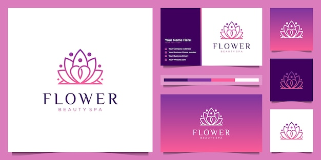 Flower logo design and business card template. beauty lotus flower liner logo feminine with gradient color
