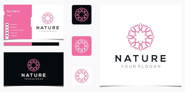 Flower logo design and business card