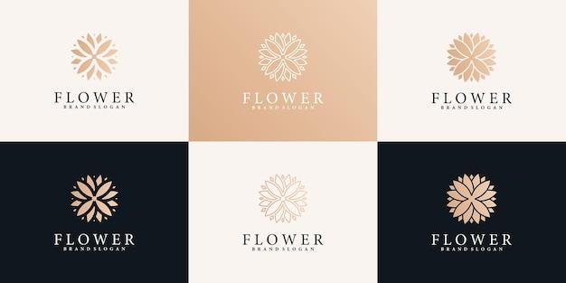 현대적인 그라데이션 색상 스타일과 명함이 있는 꽃 로고 디자인 컬렉션