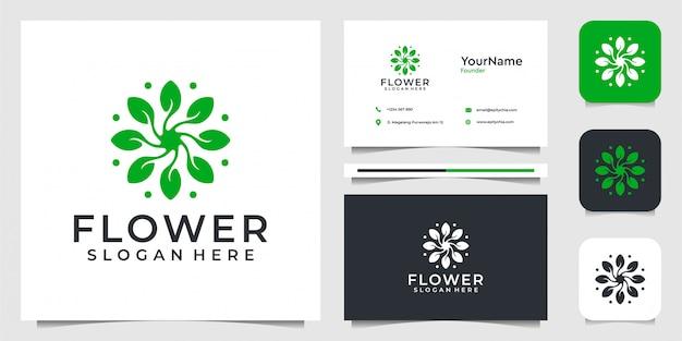有機的なスタイルで花のロゴデザイン。スパ、装飾、花、森、葉、広告、ビジネス、ビジネスカードのスーツ