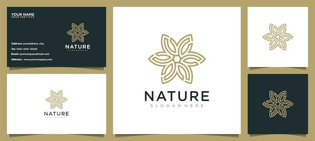 ラインのコンセプトと名刺で、スキンケア、ヨガ、化粧品、サロン、スパのための花のロゴデザインのインスピレーション