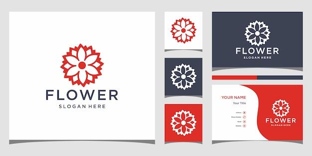 花のロゴデザインのインスピレーション。ロゴデザインと名刺プレミアム