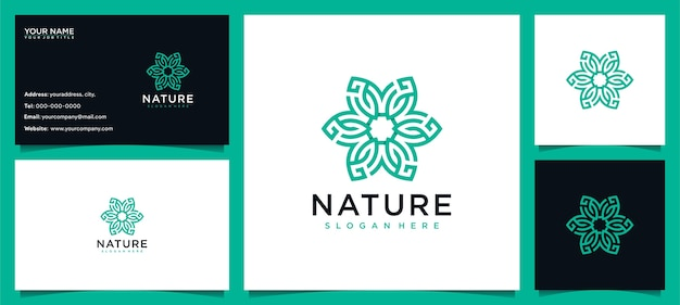 Flower logo design inspiration for skin care, yoga, cosmetic, salons and spa, with line concept and business card