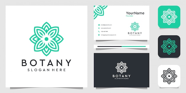 Flower   logo design in line art style. suit for decoration, leaf, spa, yoga, plants and business card