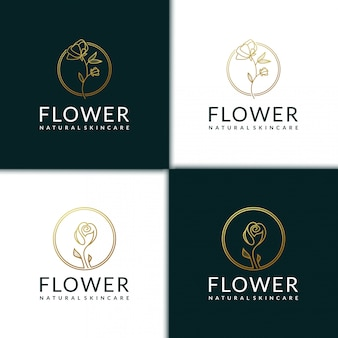 Flower logo design template, beauty, health, spa, yoga with line art style